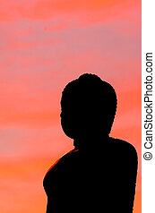 buddha, silhouette, auf, sonnenuntergangshimmel