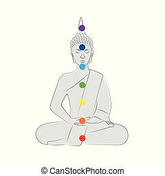 buddha silhouette colorful chakra points