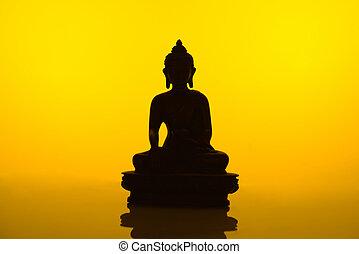 buddha, silhouette, gelber
