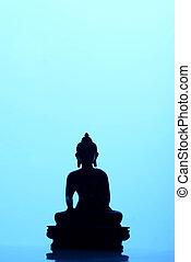 buddha, silhouette, in, blaues