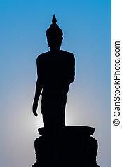 buddha, silhouette, statue, stehende