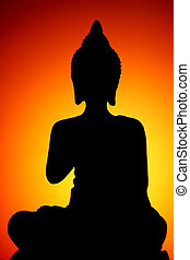 Buddha Silhouette - Silhouette of Thai style buddha with...