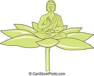 Buddha Sitting on Lotus Flower Drawing