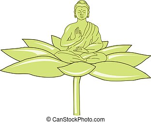 Buddha Sitting on Lotus Flower Drawing