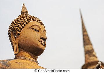 Buddha statue and Pagoda Sukhothai,