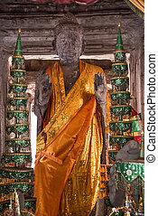 Buddha Statue Angkor Wat. Tradition, Religion, Culture. Cambodia, Asia.
