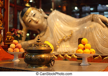 Buddha statue at Jade Buddha temple in Shanghai, China