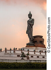 Buddha Statue at Sunrise or Sunset, HDR