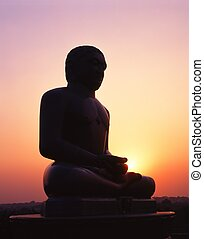 Buddha statue at sunset, Delhi.