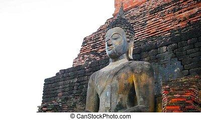 Buddha Statue at Temple Ruin in Sukhothai, Thailand - 1080p...