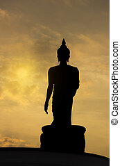 Buddha statue during sunset, silhouette