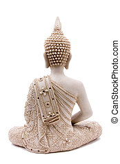 Buddha statue from rear against white background.