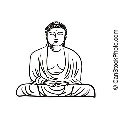 Buddha statue hand drawn icon isolated on white background...