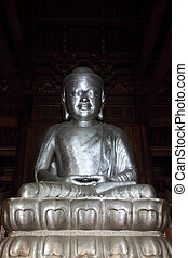 Buddha statue in a temple in Shanghai, China