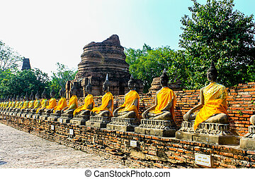 Buddha statue in mongkol temple at ayutthaya Thailand