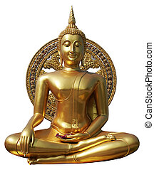 Buddha statue in pubic temple of thailand. Isolated on white background with clipping path.
