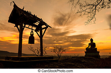 Buddha statue in sunset at  Phrabuddhachay Temple Saraburi, Thailand.