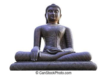 Buddha statue isolated on white.