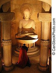 Buddha Statue - Monk offering prayers