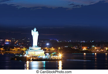 Buddha statue of Hyderabad - HYDERABAD INDIA - September...