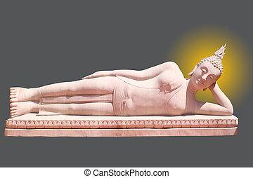 Buddha statue on black background
