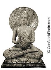 Buddha statue on white background, isolated.