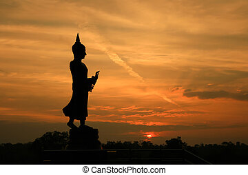 buddha, statue, silhouette