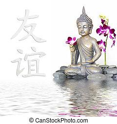 Buddha Statue - Buddha statue in water, chinese symbol for...