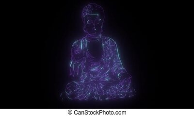 buddha statue that lights up with neon lights - buddha...