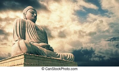 Buddha Statue With Epic Sky - Huge stone statue of the...