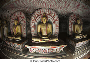 Buddha Statues at Dambulla Rock Temple, Sri Lanka - Image of...