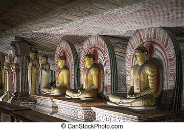 Buddha Statues at Dambulla Rock Temple, Sri Lanka