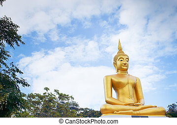 Buddha statues on blue sky as background