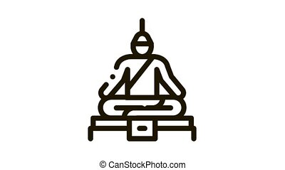 Buddha Thai Religion Statue Icon Animation. black Buddha Religious Sculpture, Spirituality Monument animated icon on white background