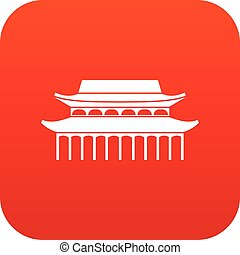 Buddha Toothe Relic Temple in Singapore icon digital red