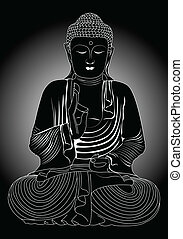 Buddha in black and white.