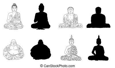 buddha, vector, negro, ilustración