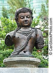 Buddha warrior brass statue, Thailand.