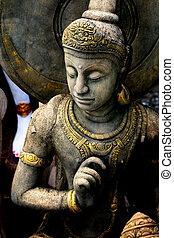 Buddha warrior stone statue.