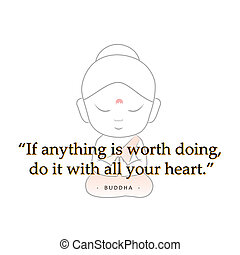 Buddha with motivational quote.