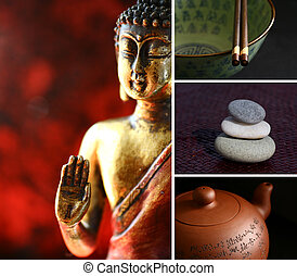 Buddha zen statue - Composition of images - buddha, stones,...