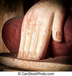 Buddhas hand. Bagan, Myanmar (Burma) - Buddhas hand in...