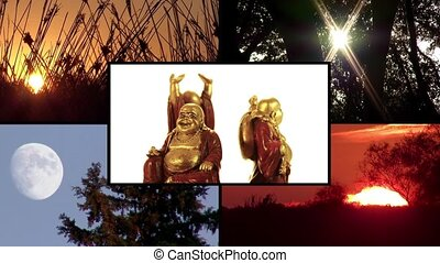 Buddha's life. Conceptual. Montage. - Buddha's way. A...