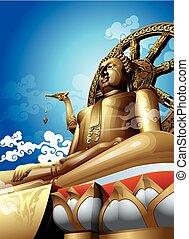 buddha.vector, grande, ilustración