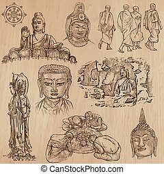Buddhism - Freehand sketching, vector pack - Buddhism -...