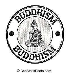 Buddhism grunge stamp