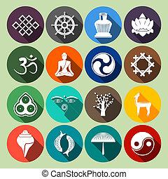 Buddhism Icons Set Flat
