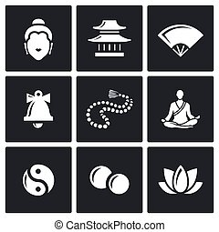 Buddhism icons set. Vector Illustration.