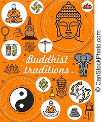 Buddhism religion and meditation symbols