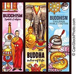 Buddhism religion sacred symbols sketch banners - Buddhism...